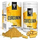 Vitalfuel® - Curcumin Extrakt mit Piperin/Bioperin - Curcuma Kapseln hochdosiert mit - Kurkuma Kapseln - 500 mg pro Tagesdosis
